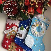 Новогодний носок ручной работы. Ярмарка Мастеров - ручная работа Рождественский сапожок. Handmade.