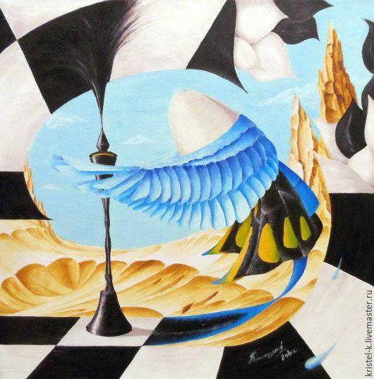 Фантазийные сюжеты ручной работы. Ярмарка Мастеров - ручная работа. Купить Картина маслом сюрреализм купить, крылья, шахматная доска, 30х30 см. Handmade.