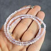 Работы для детей, handmade. Livemaster - original item Silver 925pr.Delicate beads natural stone kunzite with a cut. Handmade.