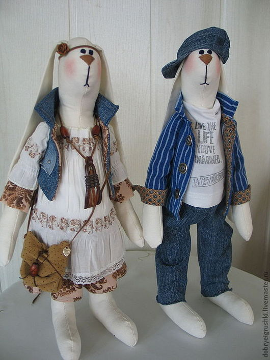 Куклы Тильды ручной работы. Ярмарка Мастеров - ручная работа. Купить Зайцы Кейт и Макс. Handmade. Белый, этно-стиль