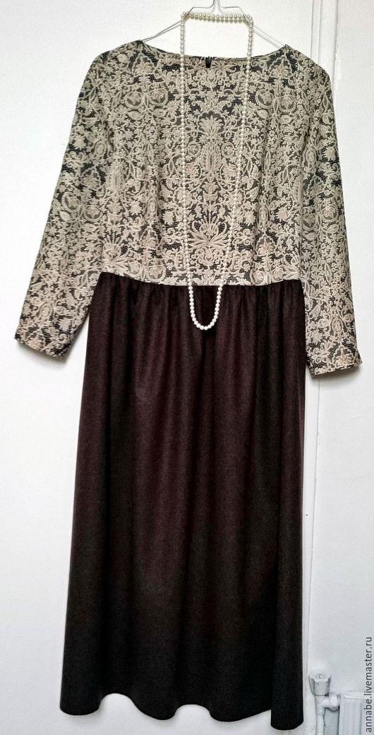 Платья ручной работы. Ярмарка Мастеров - ручная работа. Купить Платье Чистый жемчуг Хлопок и шерсть 100%. Handmade.