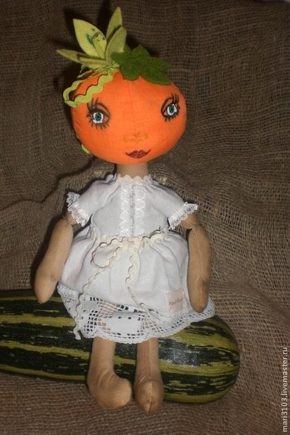 Куклы тыквоголовки ручной работы. Ярмарка Мастеров - ручная работа текстильная куколка-тыквоголовка Тыковка. Handmade.