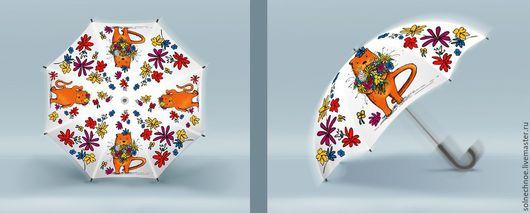 """Зонты ручной работы. Ярмарка Мастеров - ручная работа. Купить Скидка 40% Зонт """"Тим дарит букет"""". Handmade. Рисунок"""