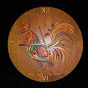 handmade. Livemaster - original item Wall clock of Flaming cock. Handmade.