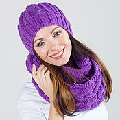 """Аксессуары ручной работы. Ярмарка Мастеров - ручная работа Комплект вязаный """"Фуксия"""", шарф снуд вязаный и шапка вязаная. Handmade."""