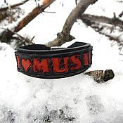 Украшения handmade. Livemaster - original item A leather bracelet I love music. Handmade.