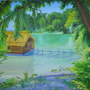 Картины и панно ручной работы. Ярмарка Мастеров - ручная работа Картины: картина маслом Домик на воде. Handmade.