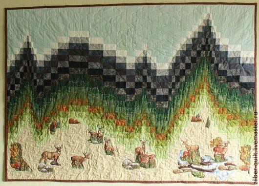 Пейзаж ручной работы. Ярмарка Мастеров - ручная работа. Купить Текстильное лоскутное панно Олени в Горах (продано). Handmade.