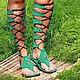 Гладиаторы из натуральной замши Изумруд на шнуровке. Любые размеры на заказ по вашим меркам!