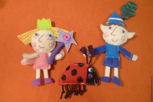 Сказочные персонажи ручной работы. Ярмарка Мастеров - ручная работа. Купить Брошки куколки Бен, Холли и Гастон. Handmade. Комбинированный