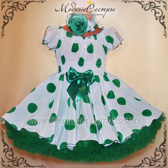 Baby dress 'White green peas' Art.326, Childrens Dress, Nizhny Novgorod,  Фото №1