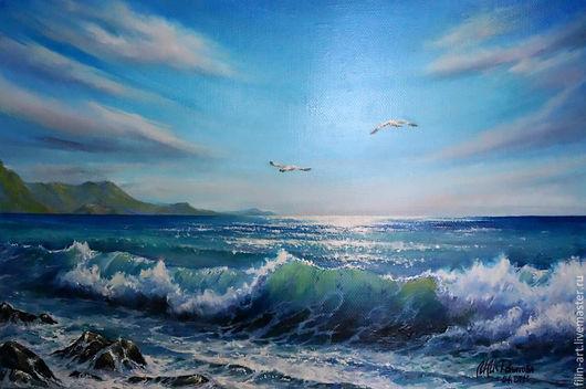 """Пейзаж ручной работы. Ярмарка Мастеров - ручная работа. Купить Морской пейзаж Картина маслом на холсте - """"Море. 2 чайки"""". Handmade."""