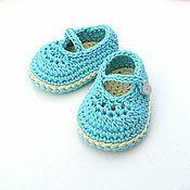 Работы для детей, handmade. Livemaster - original item Booties shoes for girls, turquoise, booties crochet. Handmade.
