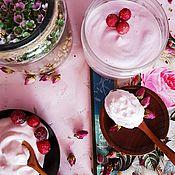 Крем для тела ручной работы. Ярмарка Мастеров - ручная работа Крем мусс для тела Вишнёвый пломбир с пудрой вишни и сливками розовый. Handmade.