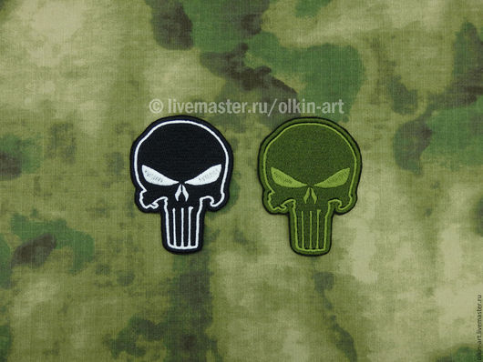 нашивка ПАЛАЧ Punisher (чёрная / полевая) Машинная вышивка. Белорецкие нашивки. Нашивка. Шеврон. Патч. Вышивка. Шевроны.  Патчи. Нашивки. Купить нашивку.