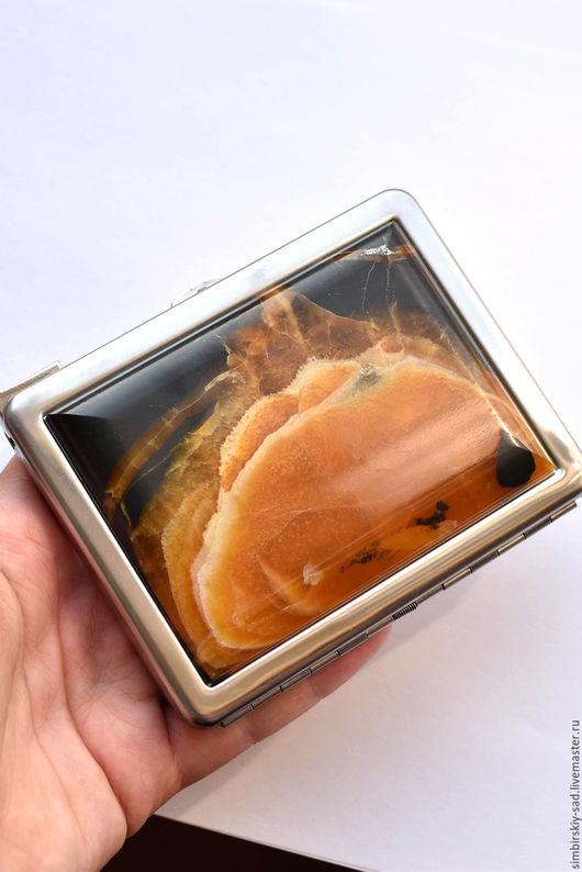 Подарки для мужчин, ручной работы. Ярмарка Мастеров - ручная работа. Купить № 191 Портсигар.. Handmade. Желтый, симбирцит