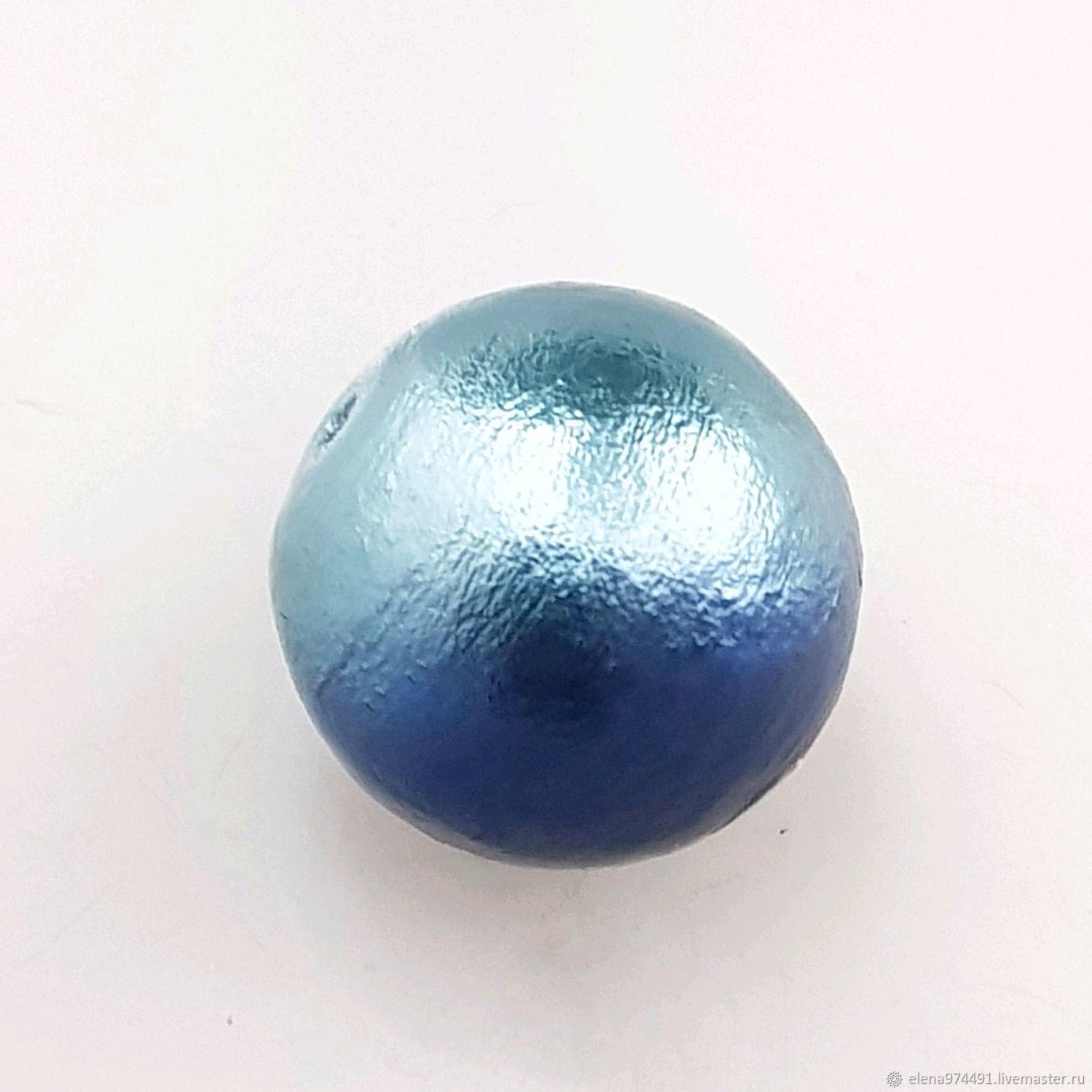 10мм. Хлопковый жемчуг. Морской сине-голубой, Бусины, Москва,  Фото №1