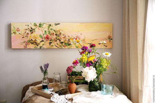 картина маслом с цветами на рассвете, полевые цветы, летняя солнечная картина, картина нового дня, заряд бодрости утром, картина на кухню столовую, Марина Маткина Пермь, купить заказать картину