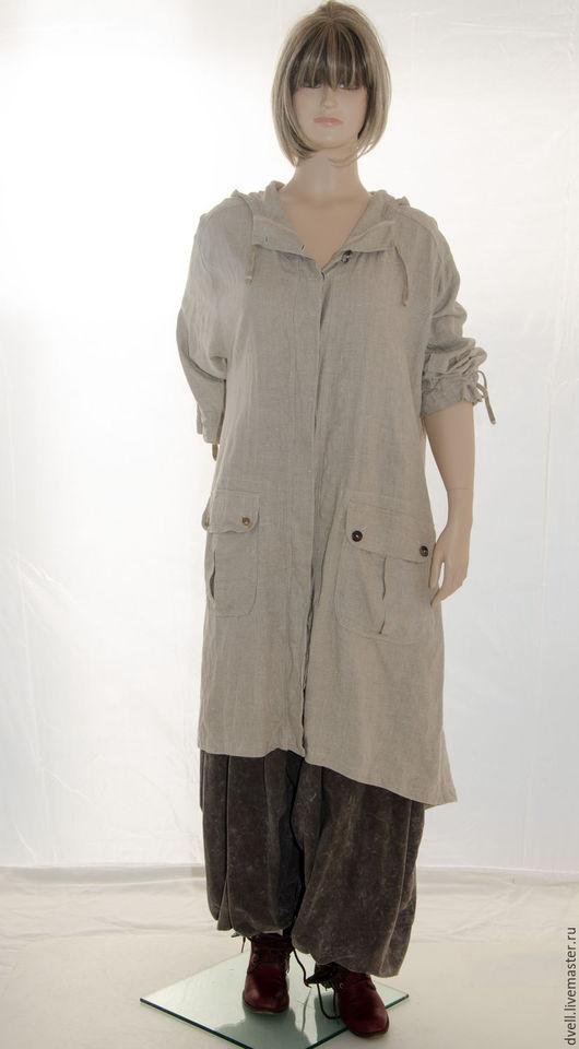 Большие размеры ручной работы. Ярмарка Мастеров - ручная работа. Купить Бохо пальто Прохладное лето эко лён большой размер для Павы. Handmade.