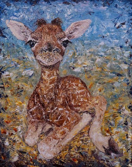 Животные ручной работы. Ярмарка Мастеров - ручная работа. Купить Картина. Новорожденная. Масло, мастихин, холст на подрамнике, 40х50 см. Handmade.