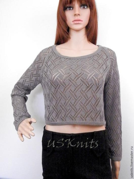 Вязаный летний ажурный пуловер (свитер)