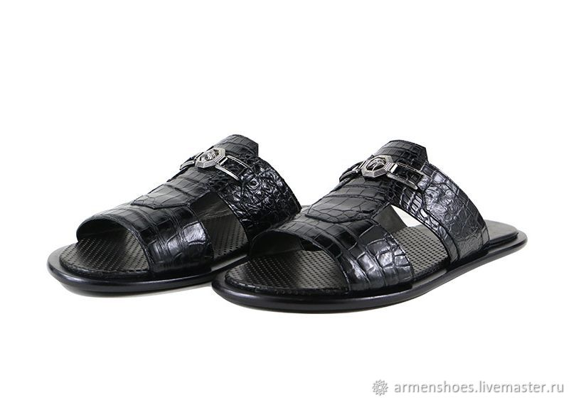 Сандалии мужские из кожи крокодила, в чёрном цвете!, Сандалии, Тосно, Фото №1