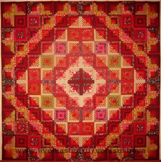 """Текстиль, ковры ручной работы. Ярмарка Мастеров - ручная работа. Купить """"Праздничное"""" одеяло 240х240см. Handmade. Красное, печворк, пэчворк"""