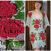 """Одежда ручной работы. Ярмарка Мастеров - ручная работа Платье """"Роза - 4"""" - связано в технике цветной филейки. Handmade."""