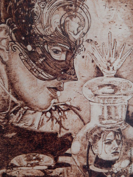 """Фэнтези ручной работы. Ярмарка Мастеров - ручная работа. Купить Картина """"Чары колдовские"""". Handmade. Коричневый, мистика, голова, магия"""
