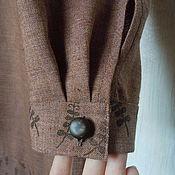 """Одежда ручной работы. Ярмарка Мастеров - ручная работа Льняное платье """"Корица"""" с ручной набойкой. Handmade."""