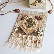 """Украшения ручной работы. Ярмарка Мастеров - ручная работа """"Кофемания"""" бохо кулон из ткани этнический подвеска коричневый. Handmade."""