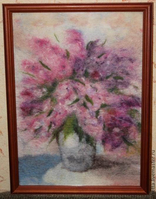 """Картины цветов ручной работы. Ярмарка Мастеров - ручная работа. Купить Картина из шерсти """"Сиреневая пыль"""". Handmade. Сиреневый, цветы"""