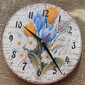 Для дома и интерьера ручной работы. Ярмарка Мастеров - ручная работа Настенные деревянные часы  Весна. Handmade.