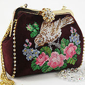 Classic Bag handmade. Livemaster - original item Suede evening bag, Burgundy handbag, bag with stones, retro embroidery. Handmade.