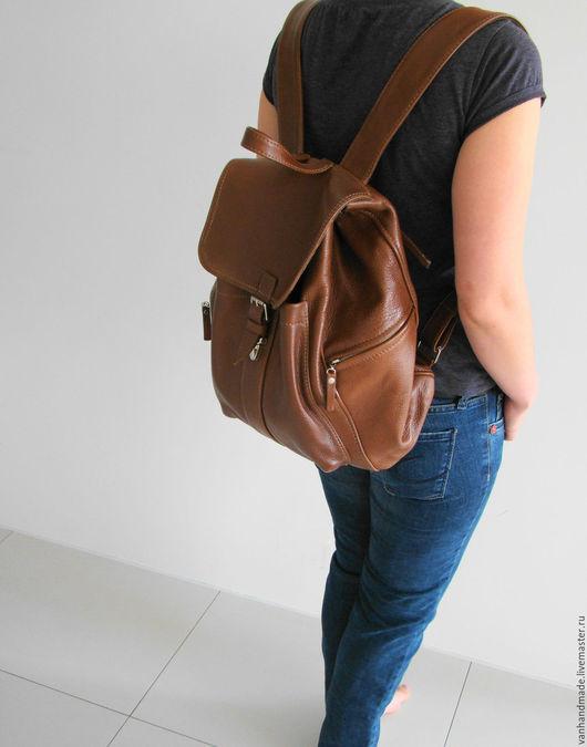 Рюкзаки ручной работы. Ярмарка Мастеров - ручная работа. Купить Стильный кожаный рюкзак. Индивидуальный пошив. Handmade. Коричневый