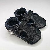 Работы для детей, handmade. Livemaster - original item Toddler Sandals, Black Shoes,Leather Baby Shoes, Toddler shoes. Handmade.