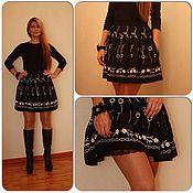 Одежда ручной работы. Ярмарка Мастеров - ручная работа Шерстяная юбка с цветами. Handmade.