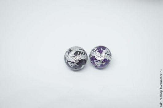 Для украшений ручной работы. Ярмарка Мастеров - ручная работа. Купить Аметист с гравировкой дракон шар 14 мм. Handmade.