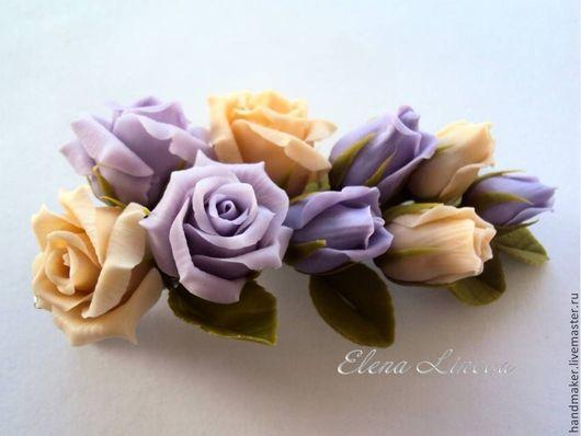 Заколки ручной работы. Ярмарка Мастеров - ручная работа. Купить Веточка с розами. Handmade. Бледно-сиреневый, лавандовый, украшение с розами