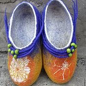 """Обувь ручной работы. Ярмарка Мастеров - ручная работа Валяные тапочки """" Апельсинка """". Handmade."""