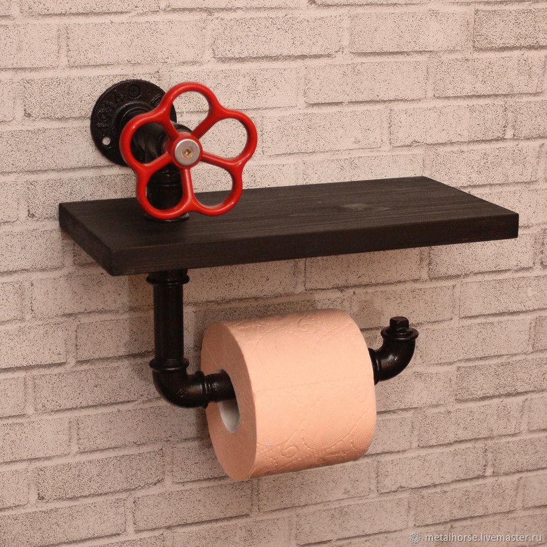 Держатель туалетной бумаги с полкой в стиле лофт, стимпанк, ретро, Держатели, Москва,  Фото №1