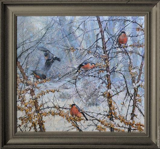 картина.животные.пять весёлых птиц.акрил,масло,холст на подрамнике .60х65