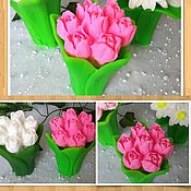 """3D форма силиконовая """"Букет тюльпанов с листьями - 1"""" (2 формы)"""