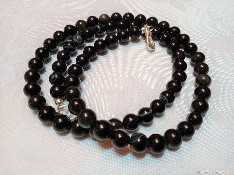 Men's bracelet-winding of obsidian,onyx, silver with magnetic lock, Bead bracelet, Sergiev Posad,  Фото №1