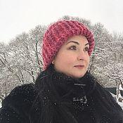 handmade. Livemaster - original item Hat knit. Body cap. Red hat winter. Handmade.