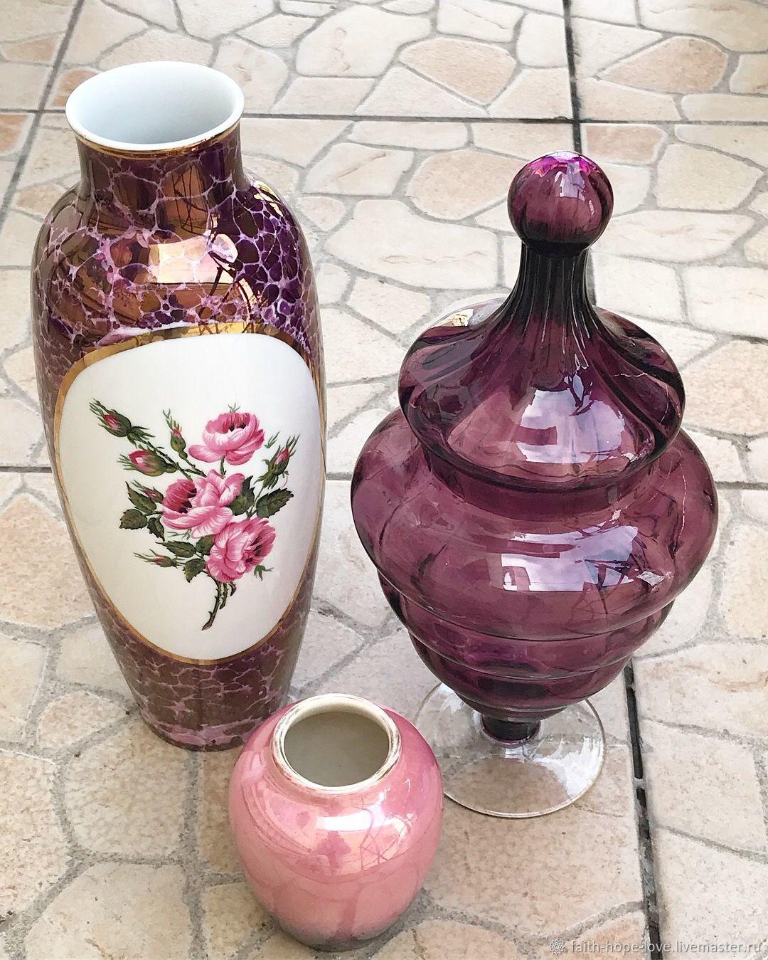 Victorian Candy Bowl. Amethyst glass, Vintage interior, Vladivostok,  Фото №1