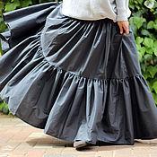 Одежда ручной работы. Ярмарка Мастеров - ручная работа Длинная ярусная юбка серого цвета. Handmade.