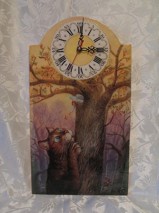 """Часы для дома ручной работы. Ярмарка Мастеров - ручная работа. Купить Настенные часы """"Кот и ангел"""". Handmade. Кот, часы"""