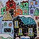 Город ручной работы. Ярмарка Мастеров - ручная работа. Купить Картина на стекле Зимний город по мотивам Karla Gerard. Handmade.