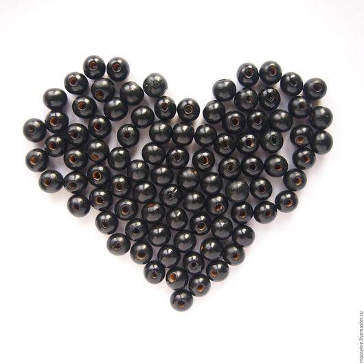 Для украшений ручной работы. Ярмарка Мастеров - ручная работа. Купить Бусины деревянные 11х10 мм черные круглые. Handmade.